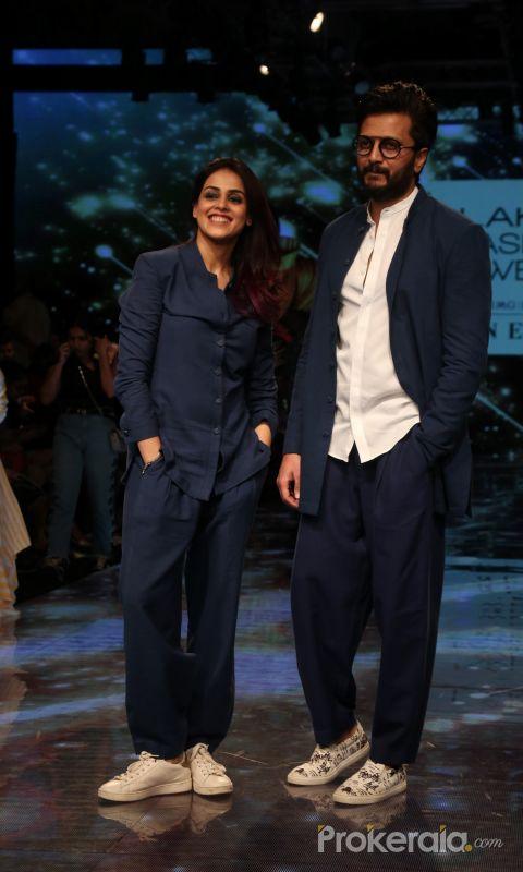 Reitesh Deshmukh With His Wife  Genelia D Souza at Lakme Fashion Week 2019