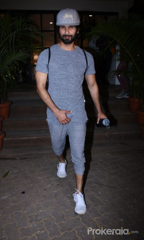 Actor Shahid Kapoor spotted at gym in bandra.