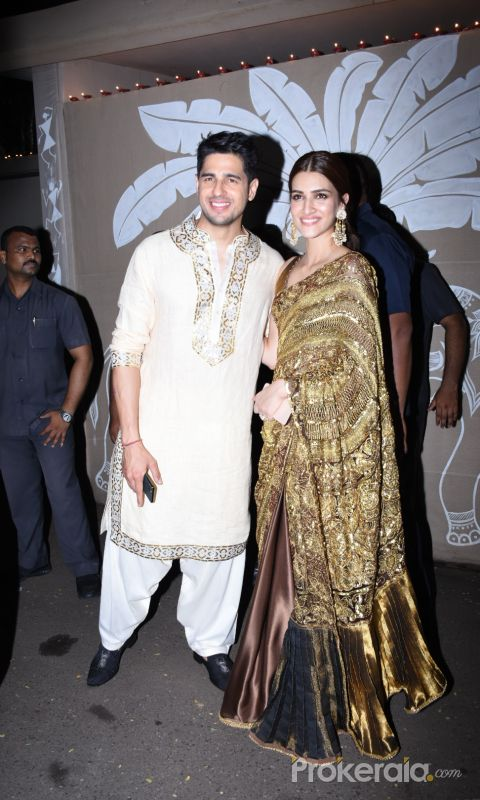 Sidharth Malhotra and Kriti Sanon at actor Amitabh Bachchan's Diwali party