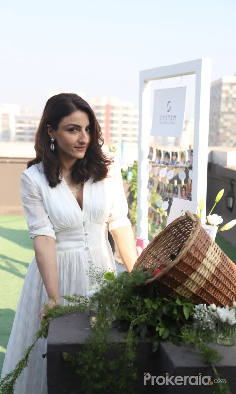 Actress Soha Ali Khan At The Launch Of New Haircare Brand.