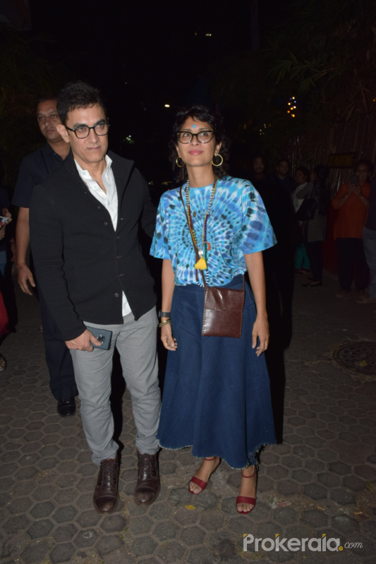 Actor Aamir Khan and his wife attend Javed Akhtar birthday party at juhu.