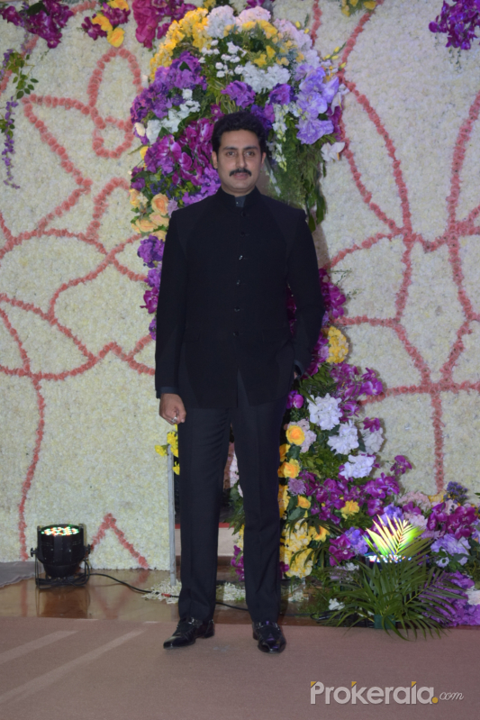 Actor Abhishek Bachchan in Sooraj Barjatya's son Devansh wedding reception at Marriott Juhu