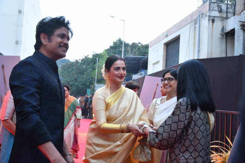Actor Akkineni Nagarjuna and Rekha at ANR National Awards 2018-2019
