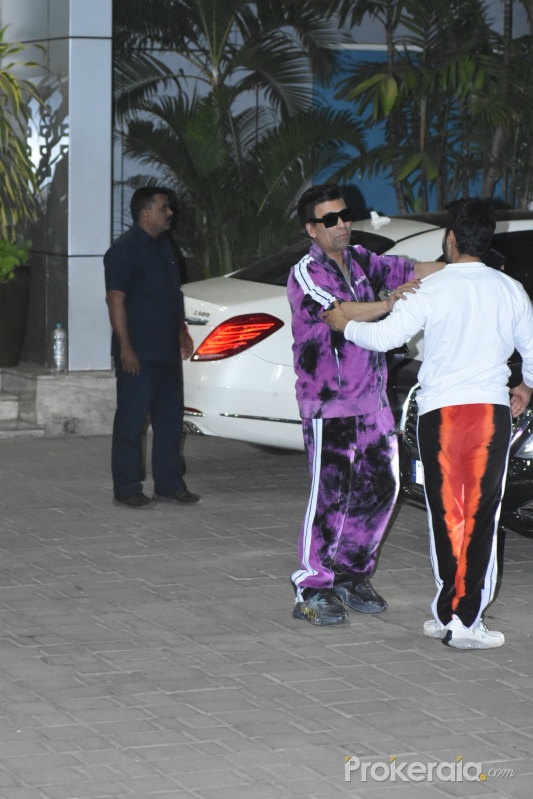 Actor Karan Johar seen at airport in Kalina