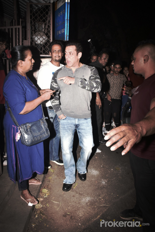 Actor Salman Khan at dubbing studio in bandra.