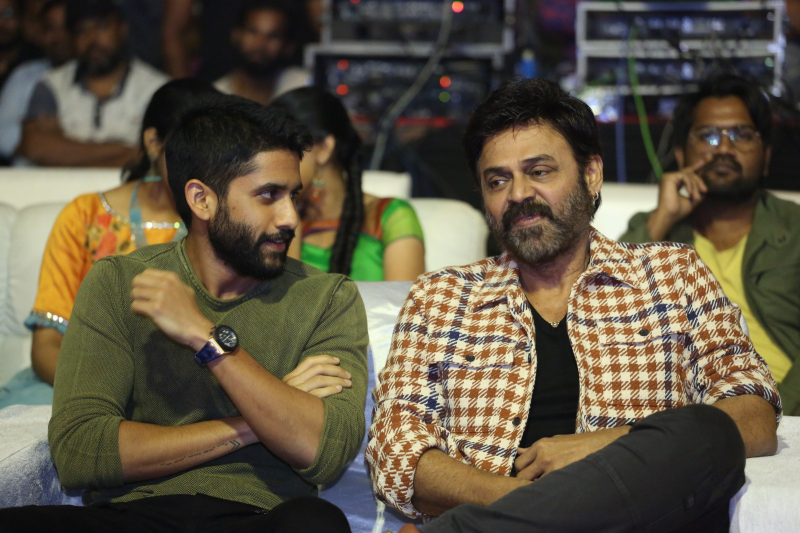 Actor Venkatesh and Akkineni Naga Chaitanya in Venky Mama Pre-release Event Photo.