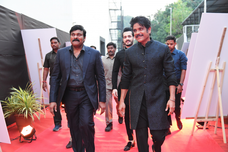 Actors Chiranjeevi and Akkineni Nagarjuna at ANR National Awards 2018-2019.