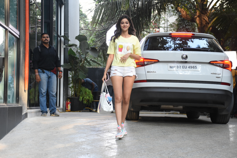 Actress Ananya Pandey seen at maddock office in santacruz