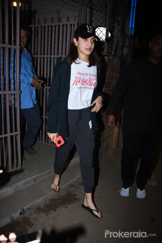 Actress Anushka Sharma seen at bandra.