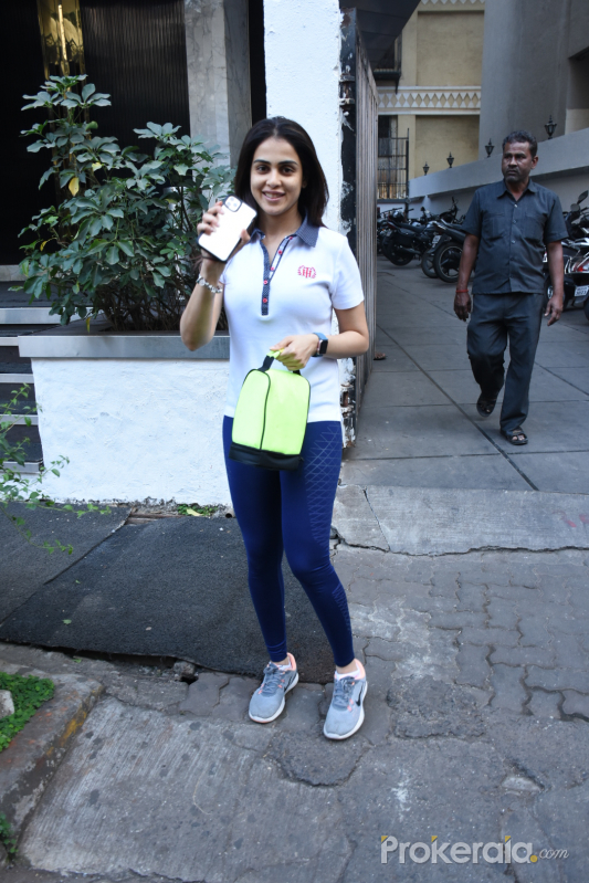 Actress Genelia D souza seen at gym in Bandra.