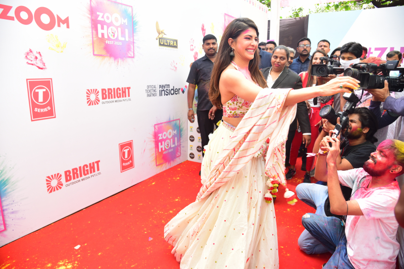Actress Jacqueline Fernandez at zoom holi party in taj lands end bandra
