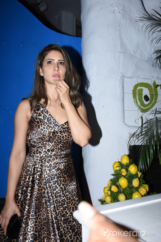 Actress Kim Sharma in birthday party at olive bandra.