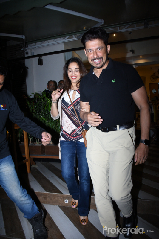Actress Madhuri Dixit with family seen at farmer's cafe in bandra.