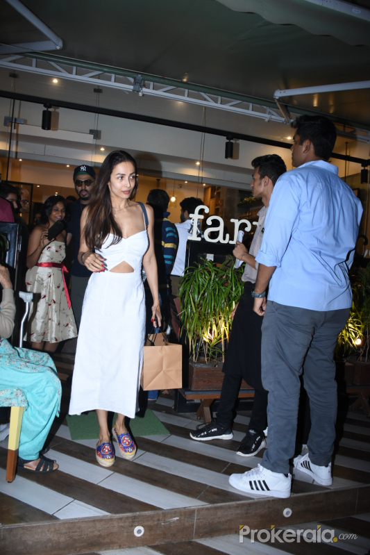 Actress Malaika Arora seen at Farmer's Cafe in bandra