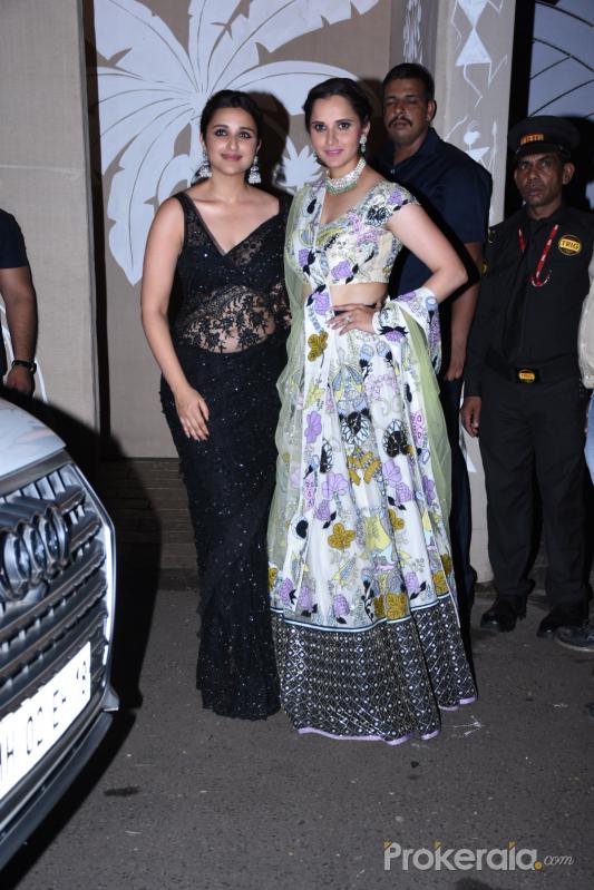 Actress Parineeti Chopra and tennis player Sania Mirza at actor Amitabh Bachchan's Diwali party