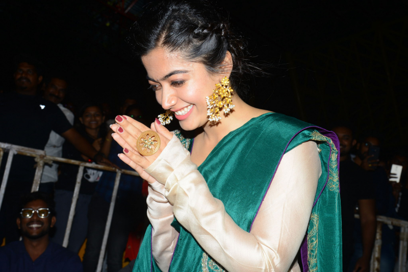 Actress Rashmika mandanna during the movie promotion event
