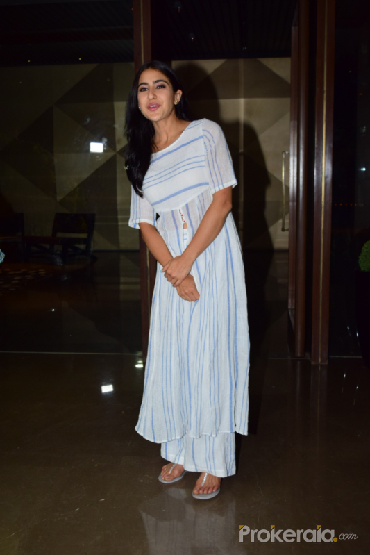 Actress Sara Ali Khan attend Coolie No 1 wrapup party at Jacky Bhagnani's house in juhu