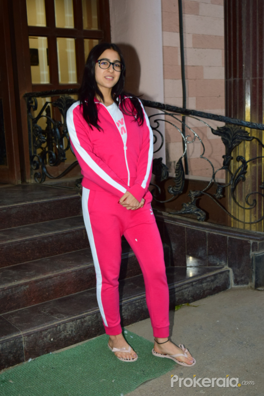 Actress Sara Ali Khan spotted at a dubbing studio in Andheri