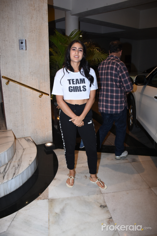 Actress Sara Ali Khan spotted at Manish Malhotra's house in bandra