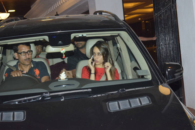 Actress Shraddha Kapoor seen at  Anand Pandit's house in juhu.