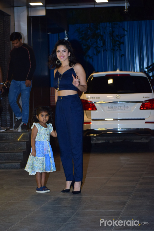 Actress Sunny Leone and family spotted at juhu