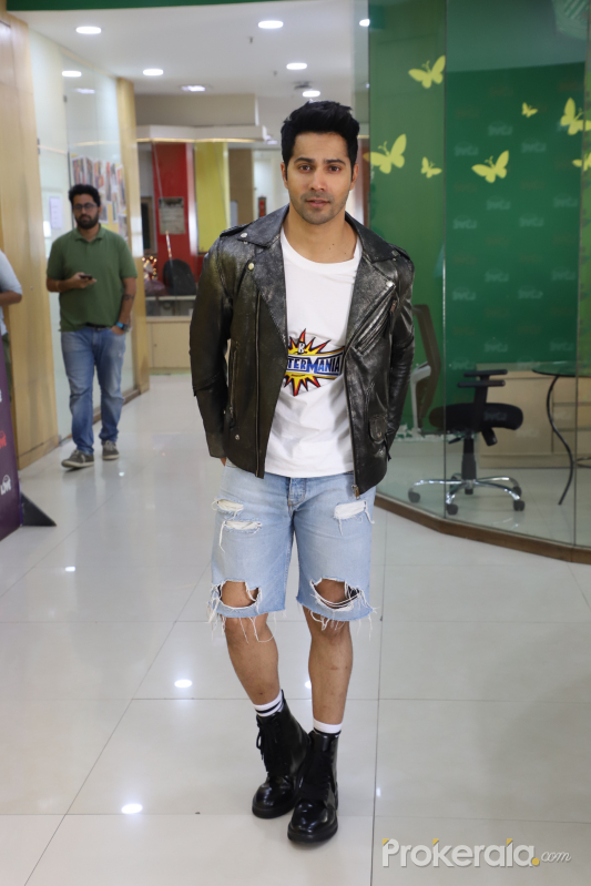 Actress Varun Dhawan seen at promoting their film Street Dancer 3D at radio mirchi office.