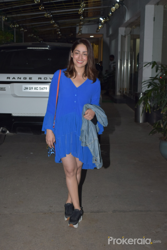 "Actress Yami Gautam at the screening of her upcoming film ""Bala"" in Mumbai"