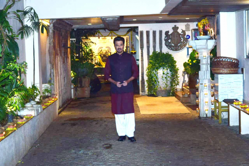 Anil Kapoor  Pose For Media At Karva Chauth Puja At his home