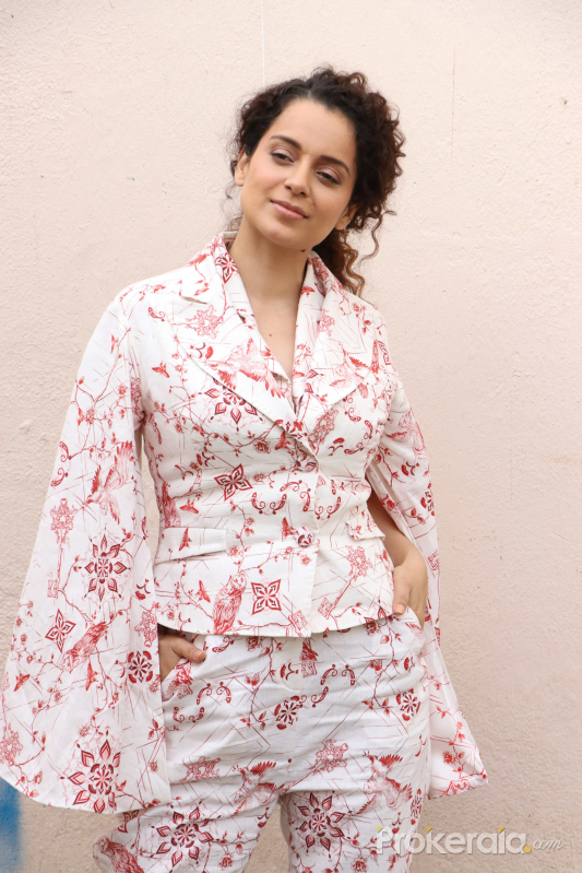 Kangana Ranaut poses for a picture as she attends the promotion of her upcoming Hindi film 'Judgementall Hai Kya'