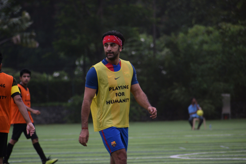 Ranbir Kapoor Playing football at juhu