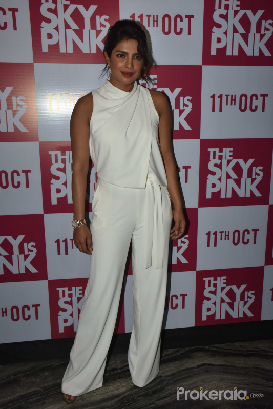 Priyanka Chopra at The Sky is Pink party at Escobar bandra with white model dress