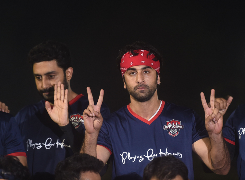 Ranbir Kapoor playing football match with tv actors