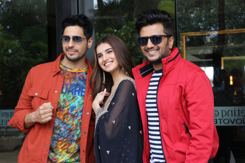 Sidharth Malhotra, Tara Sutaria, Riteish Deshmukh During the promotion of Thier  upcoming movie Marjaavaan