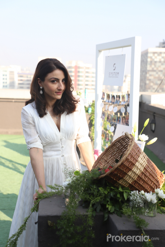 Actress Soha Ali Khan At The Launch Of New Haircare Brand.