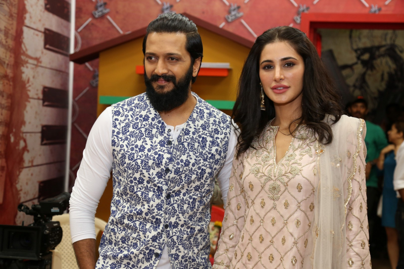 Riteish Deshmukh and Nargis Fakhri  @ The Cast Of Banjo On The Set Of The Voice For Promotion