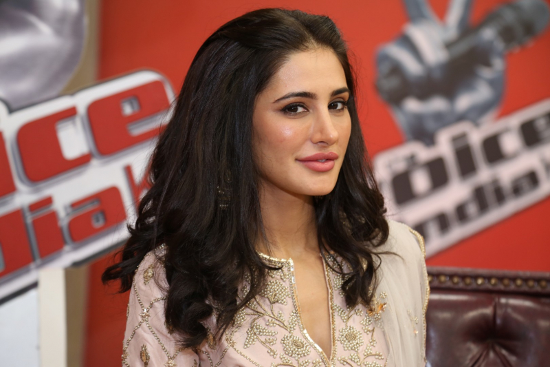 Nargis Fakhri attend The Cast Of Banjo On The Set Of The Voice For Promotion