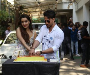 Actress Shraddha Kapoor and Tiger shroff cake cutting at  Baaghi 3 promotions