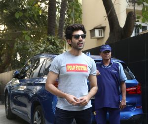 Actor  Kartik Aryan spotted at Maddock films office in santacruz