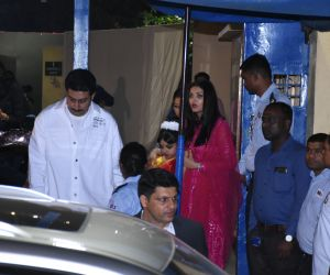 Actor Abhishek Bachan and Family attend the annual day function of Dhirubhai Ambani International School.