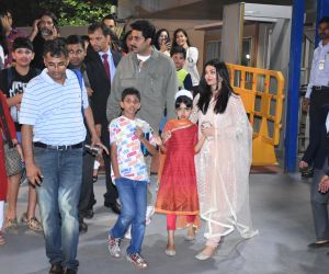 Actor Abhishek Bachchan and family at the annual day function of Dhirubhai Ambani International School.