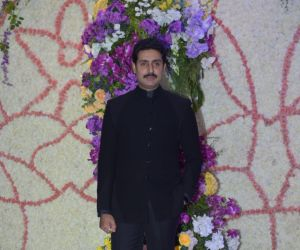 Actor Abhishek Bachchan in Sooraj Barjatya's son Devansh wedding reception at Marriott Juhu
