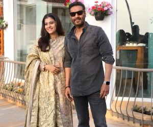 Actor Ajay Devgan And Kajol Devgan at Promotionof  their film Tanahji.