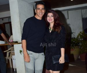 Actor Akshay Kumar and Twinkle Khanna attend Goldie Behl birthday party at Juhu