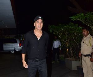 Actor Akshay kumar in Coolie No 1 wrapup party at Jacky Bhagnani's house in juhu