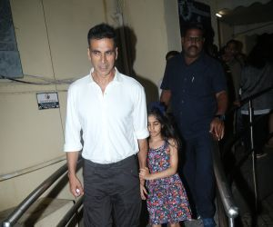 Actor Akshay kumar seen at Juhu Pvr with his Daughter