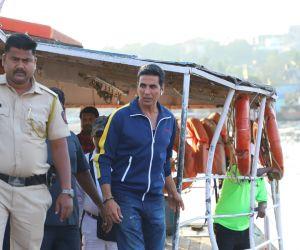 Actor Akshay Kumar spotted at Versova jetty