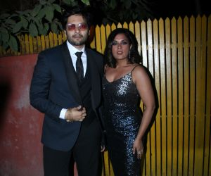 Actor Ali Fazal and Richa Chadda attend Javed Akhtar birthday party at juhu.