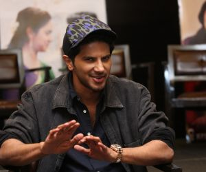 Actor Dulquer Salmaan talking to media about his new movie