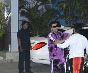 Actor Karan Johar seen at airport in Kalina