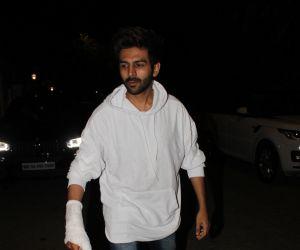 Actor Kartik Aaryan attend screening of film Angrezi Medium at sunny sound juhu